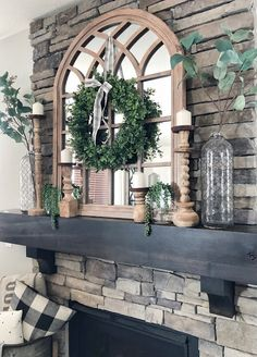 Grey Birch Designs: 3 Ways to Style Your Fireplace Mantel - Modern Design Farmhouse Fireplace Mantels, Home Fireplace, Fireplace Remodel, Fireplace Design, Grey Fireplace, Fireplace Ideas, Fireplaces, Mirror Over Fireplace, Mantel Mirrors
