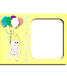 Tarjeta de cumpleaños color amarillo personalizable con tu foto, con un osito y globos. www.fotoefectos.com