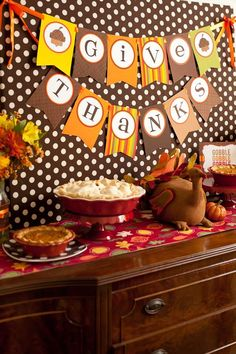 Fantastic backdrop and dessert table at a Thanksgiving party!  See more party planning ideas at CatchMyParty.com!