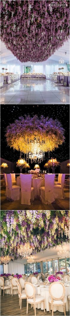 Flower hanging from the ceiling wedding decoration ideas #wedding #weddingideas #weddingflowers