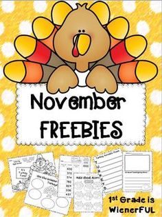 November FREEBIES!!!!!!  GREAT for 1st-2nd Grade!!!!  ENJOY!!!!!!!!!!! :o)  Happy Thanksgiving from 1st Grade is WienerFUL!!