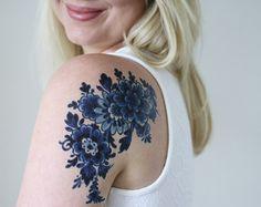 Grand tatouage temporaire fleurs / rose tatouage par Tattoorary