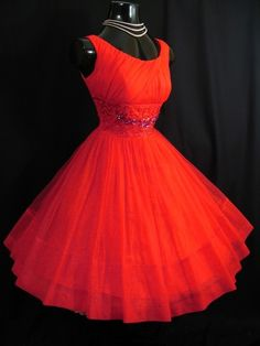 Party Dress 1950's Red