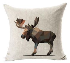 Amazon.com: Nordic Abstract Geometric Crystal Lovely Wildlife Bucks Moose Black Bear Fox Cotton Linen Throw Pillow Case Cushion Cover NEW Home Office Indoor Decorative Square 18 X 18 Inches: Home & Kitchen