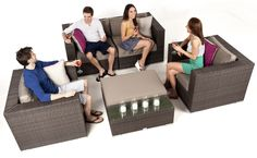 Make your outdoor space elegant and intimate with a modern wicker style sofa set. #lounge #outdoor #design #wicker