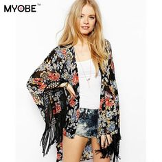 New Brand 2016 Womens Casual Vintage Boho Kimono Cardigan Lace Crochet Chiffon Loose Outwear Blouse Tops Plus Size Free Shipping alishoppbrasil
