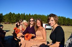 Our country wedding.  The hayride to the wedding pond.
