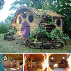 This is cute! tiny house that reminds me of a hobbit hole!