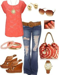 Coral, jeans