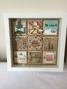 Julie Kettlewell - Stampin Up UK Independent Demonstrator - Order products Christmas Collage Frame by joann Christmas Shadow Boxes, Christmas Collage, 3d Christmas, Christmas Paper Crafts, Christmas Frames, Stampin Up Christmas, Christmas Projects, Handmade Christmas, Holiday Crafts