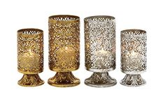 Woodland Imports Classy Assorted Metal Candle Holder, Set of 2