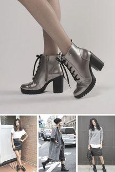 Coturno é o nov queridinho para looks street style de inverno. Aposte naqueles em verniz e metalizados! / Dicas diárias: www.facebook.com/... / #fashion #mode #femme #woman #imageconsultant #coturno #fall #streetstyle