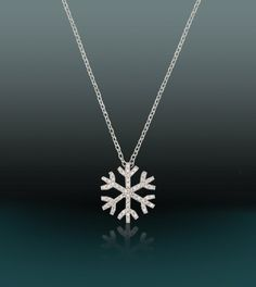 925 Sterling Silver Snowflake Zirconia Necklace by AfillyDsign, $34.90