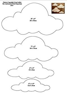 4 Different Sized Cloud Shapes Style 3 Craft Pattern 1 Felt Patterns, Craft Patterns, Decoration Creche, Felt Crafts, Paper Crafts, Cloud Template, Cloud Stencil, Sewing Projects, Craft Projects