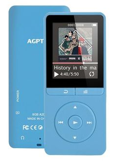 AGPTEK Player with FM Radio/ Voice Recorder, 80 Hours Playback and Expandable Up to with Independent Lock & Volume Control, Blue 2000 Songs, Unlock Screen, Computer Works, Recorder Music, 1 Oz, Sd Card, Mp3 Player, The Voice, Sound Music