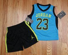 Air Jordan Toddler Boy Tank & Shorts Set ~ Turquoise Blue, Volt & Black ~ 23 ~2T #Jordan #23