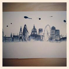 Would love to have our ketubah printed on a London skyline artwork London skyline in watercolour