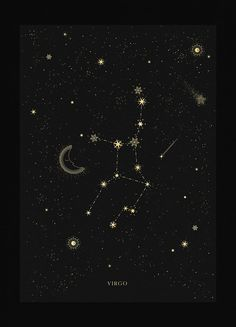 Virgo is a congested constellation with dozens of known exoplanets and at least a dozen Messier objects. It is the largest constellation of the Zodiac Virgo Star Constellation, Zodiac Constellations, Constellation Tattoos, Art Virgo, Libra Zodiac, Zodiac Signs, Virgo Sign, Black Paper, Stargazing