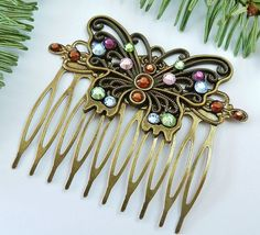Enchanting hair comb with butterfly, rhinestones, vintage  hair comb, antique hair comb, colourful hair comb, bronze, summer