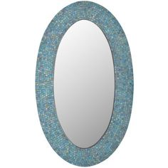 Always wish you had a room with a view of the ocean? Our shimmering wall mirror evokes the sea, thanks to its stunning glass mosaic pattern in shades of teal and navy. Go ahead—hang it in the den, bedroom or bath, and swim in its glory.