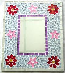 mosaico moldura espelho flores fundo azul