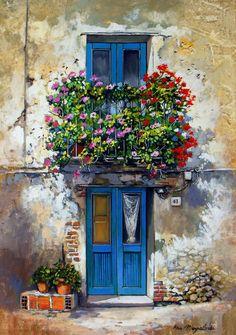 Photos from Francesco Mangialardi (oilpaints) on Myspace Rain Wallpapers, Flower Window, Cottage Art, Painted Cottage, Sketch Painting, Baby Art, Artist Art, Art Oil, Painted Rocks