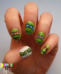 poppingnails:  Teenage Mutant Ninja Turtle nails today over on...