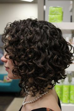 short brown asymmetrical bob curly/wavy hair, 3a curls.