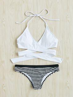 ¡Cómpralo ya!. Striped Cross Wrap Self Tie Bikini Set. Black and White Bikinis Sexy Vacation Halter Top Polyester YES Striped Swimwear. , bikini, bikini, biquini, conjuntosdebikinis, twopiece, bikini, bikini, bikini, bikini, bikinis. Bikini  de mujer   de SheIn.
