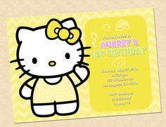 "Hello Kitty Birthday Invitation Party Digital illustration 5""X7"" Hello Kitty yellow invitation on Etsy, $10.00"