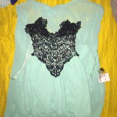 Adorable mint high low dress! Super cute mint colored high low dress with beautiful black lace detail! There should be 2 buttons on the back of the neck to keep it closed but they were not there when I purchased but the dress does have 2 extra buttons that just need to be sewn on! Charlotte Russe Dresses High Low