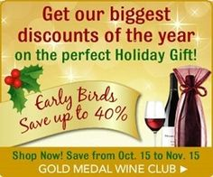Early birds can always save - and it's no different with wine clubs. Gold Medal Wine Club has a killer deal you early birds can take full advantage of. Wine Gift Boxes, Wine Gifts, Wine Auctions, Wine Subscription, Wine Reviews, Wine Delivery, Wine Online, Early Bird, Shipping Wine