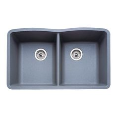 Blanco 511-703 Diamond Equal Double Bowl Kitchen Sink, Metallic Gray Finish Overall: 32-Inch x 19-1/4-Inch. Under mount installation. Silgranit. Both Bowls: 14-1/2-inch x 17-inch x 9-1/2-inch. Includes mounting hardware.  #Blanco #Home_Improvement