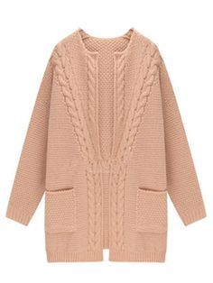 To find out about the Apricot Long Sleeve Pockets Cable Knit Cardigan at SHEIN, part of our latest Sweaters ready to shop online today!Knitting Patterns Cardigan Pink Loose Knit Cardigan With Long Sleeve Knit Cardigan Pattern, Cable Knit Cardigan, Cable Knit Sweaters, Knitwear Fashion, Knit Fashion, Fashion Outfits, Fashion Women, Long Sweater Coat, Cardigan Outfits
