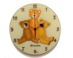 Vintage Teddy Bear Silent Wall Clock,  Kids, Childrens wall clock,  Glass paiting unique clock, Baby wall decor