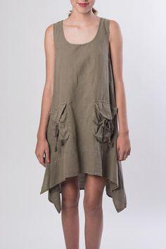 Pocket tank dress with a shark bite hem. Model is wearing a size small. Pocket Tank Dress by Catwalk. Clothing - Dresses Orange County, California