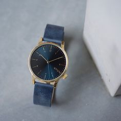 Komono Winston Regal Blue comes with a sunray face and wrinkled Italian leather strap. #komono #watches