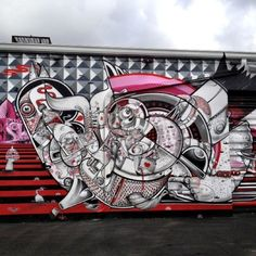 How and Nosm (Raoul and Davide Perre) are identical twin brothers known for their large scale graffiti based murals that adorn city walls around the world. The red, black, and white-based imagery is instantly recognizable. Miami Street Art, Art In Miami, Graffiti Art, Wynwood Walls Miami, Pop Art, Art Public, Banksy, Urban Art, Wall Art