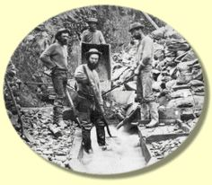 """Miners, ground sluicing on the """"Ne'er do well"""" claim, Grouse Creek, 1867 Gold Miners, Panning For Gold, Fraser River, Gold Rush, Historical Pictures, Old West, History Facts, Old Things, Black And White"""