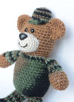 Plush Army Teddy Bear  Amigurumi Camo Bear  by TheSimplyHooked