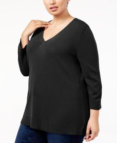 Karen Scott Plus Size Luxsoft V-Neck Sweater, Created for Macy's - Purple 3X
