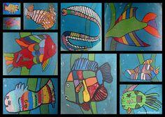 Children's Fish Paintings, ocean artwork, fish painted by children