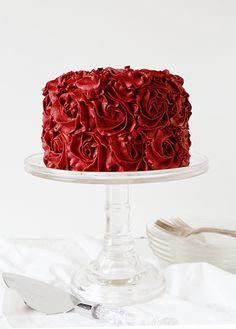 red velvet buttercream rose cake ~ http://iambaker.net
