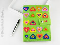 Notebook cover, refillable notepad cover, notebook included, handmade polymer pvc hearts, Dutch Design