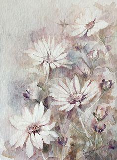 Kwiaty - akwarela, watercolor, oryginał , Anna Lipowska