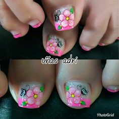 María Toe Nail Flower Designs, Nail Tip Designs, Pedicure Designs, Pedicure Nail Art, Toe Nail Art, Pretty Toe Nails, Cute Nails, Feet Nail Design, Nagel Gel