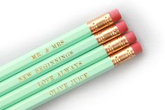 Mint Green and Gold Pencils for Wedding Gift