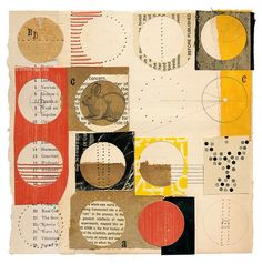 """circle bunny #2      8 x 8""""  book parts, graphite, thread, glue, on paper    by Melinda Tidwell"""