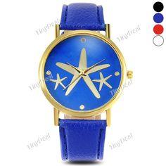 Шаблон печати набрать женской моды звезду пу кожа пояс кварцевые часы WWT-398864