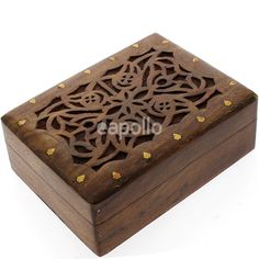 Carved Wooden Box- Leaves Brass Inlay 22.5x17x7cm - Apollo Wholesale